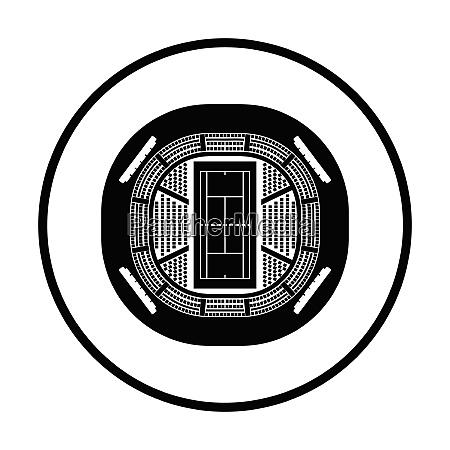 tennis stadium aerial view icon thin