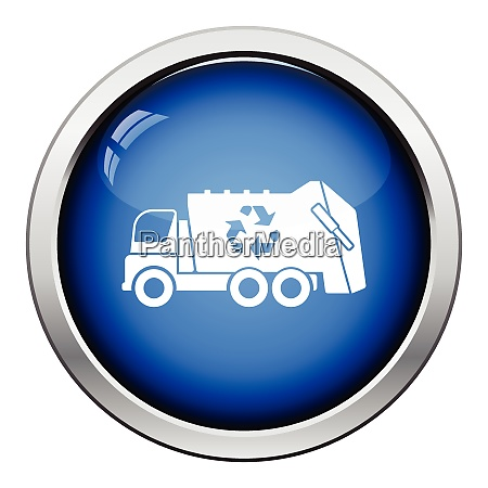 garbage car recycle icon glossy button