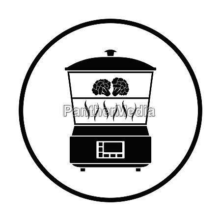 kitchen steam cooker icon thin circle