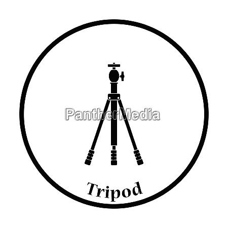 icon of photo tripod thin circle