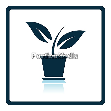 plant in flower pot icon shadow