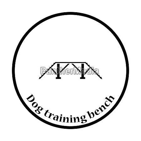 dog training bench icon thin circle