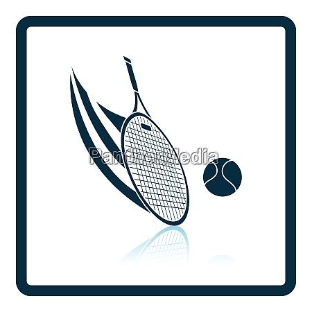 tennis racket hitting a ball icon