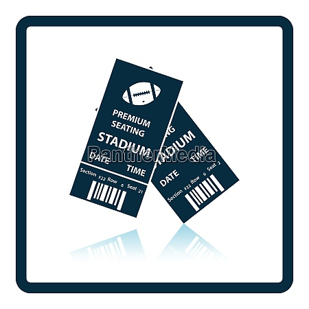 american football tickets icon shadow reflection