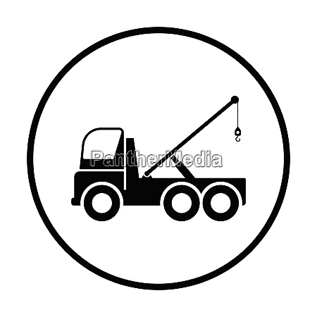 car towing truck icon thin circle