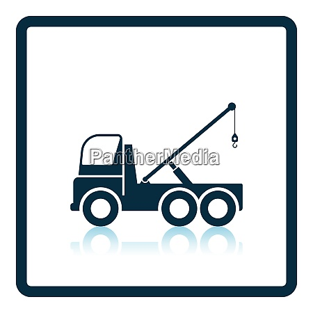 car towing truck icon shadow reflection
