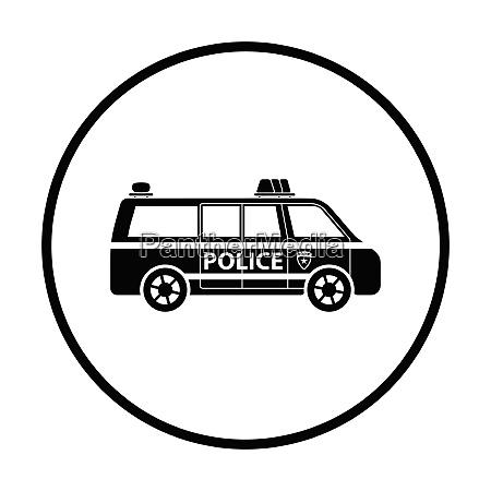 police van icon thin circle design