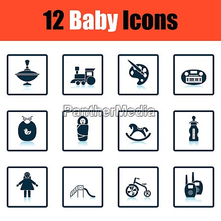 set of baby icons shadow reflection