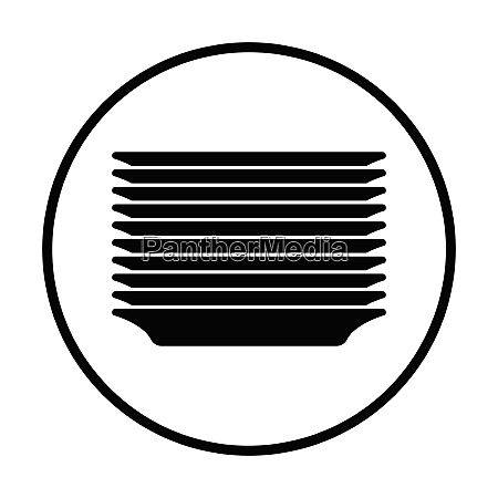 plate stack icon thin circle design