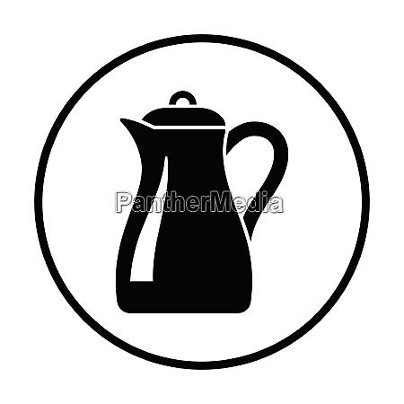 glass jug icon thin circle design