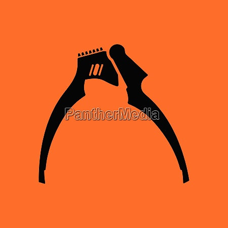 garlic press icon orange background with