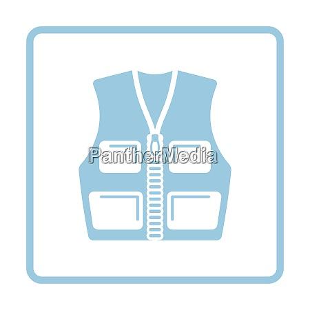 hunter vest icon blue frame design