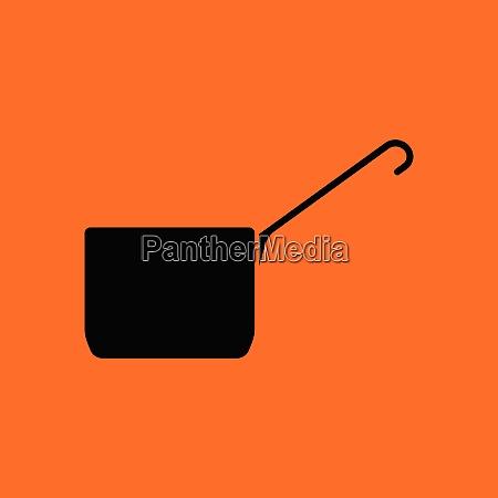 kitchen pan icon orange background with