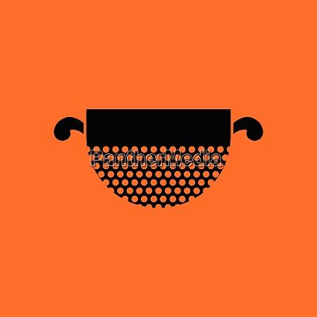 kitchen, colander, icon., orange, background, with - 26237723