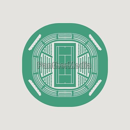 tennis stadium aerial view icon gray