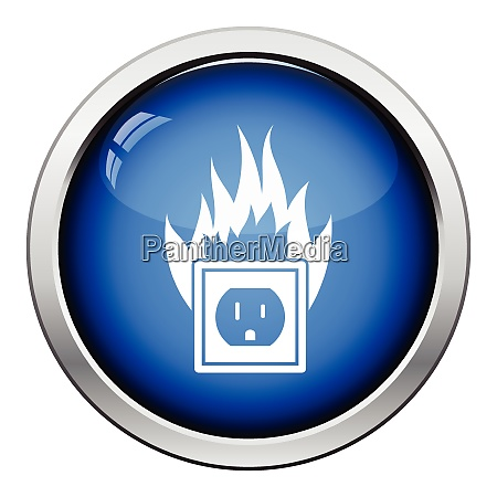 electric outlet fire icon glossy button