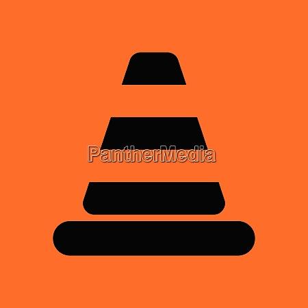 icon of traffic cone orange background