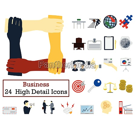 set of 24 business icons flat