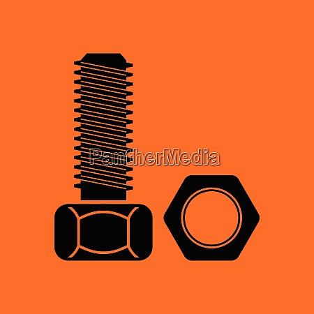 icon of bolt and nut orange