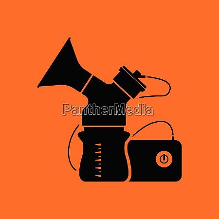 electric breast pump icon orange background