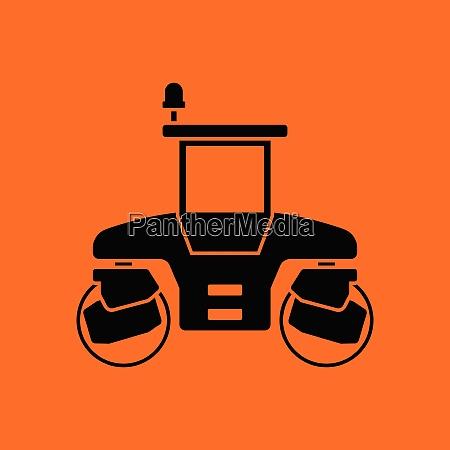 icon of road roller orange background