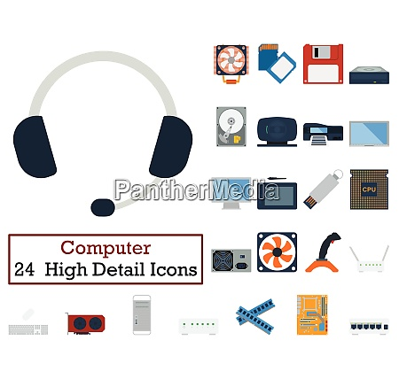 set of 24 computer icons flat