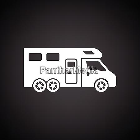 camping family caravan icon black