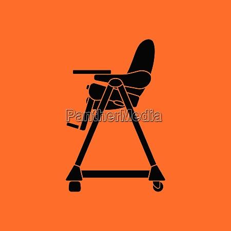 baby high chair icon orange background
