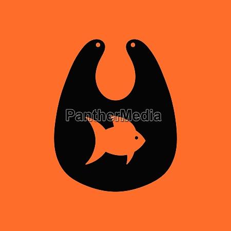 bib icon orange background with black