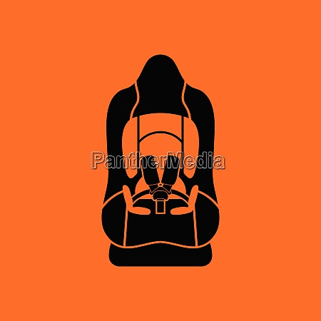 baby car seat icon orange background