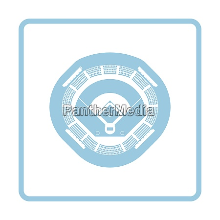 baseball stadium icon blue frame design