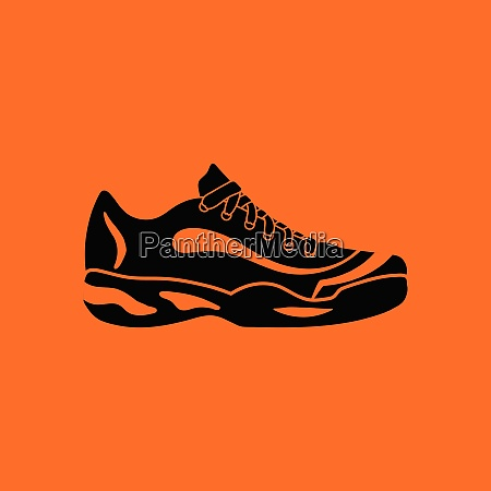tennis sneaker icon orange background with