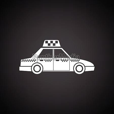 taxi car icon black background with
