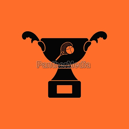 tennis cup icon orange background with