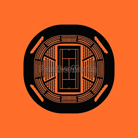 tennis stadium aerial view icon orange