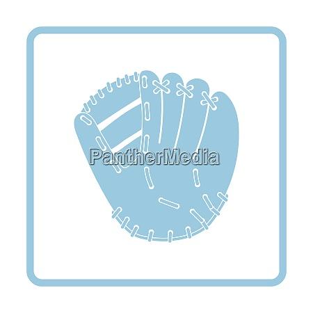 baseball glove icon blue frame design