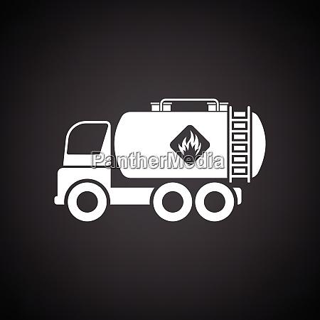 fuel tank truck icon black background