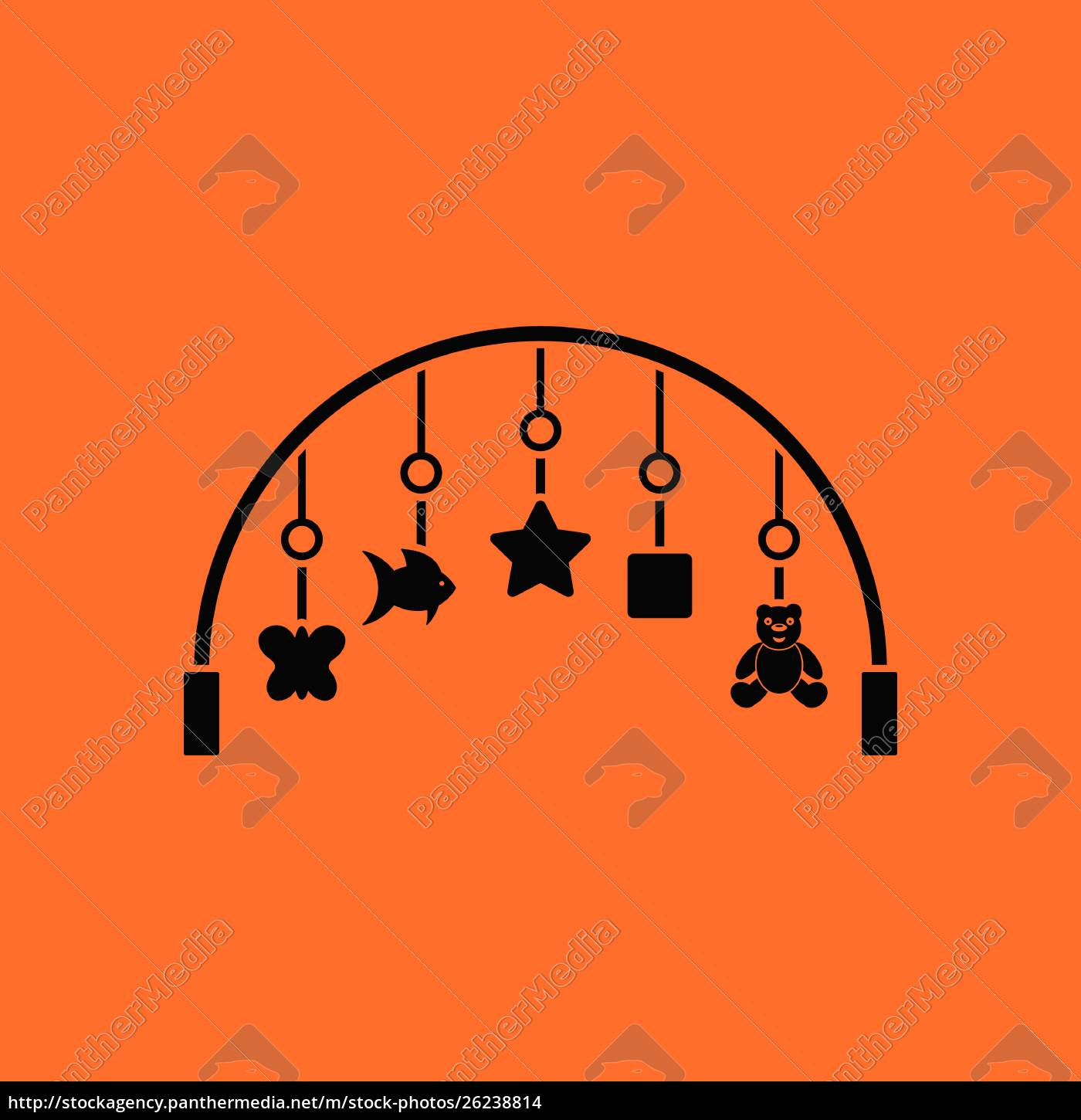 baby, arc, with, hanged, toys, icon. - 26238814