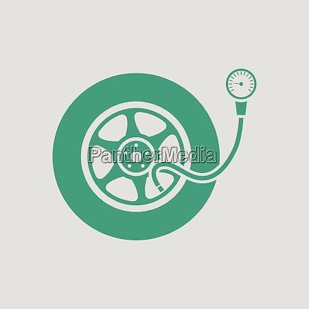 tire pressure gage icon gray background