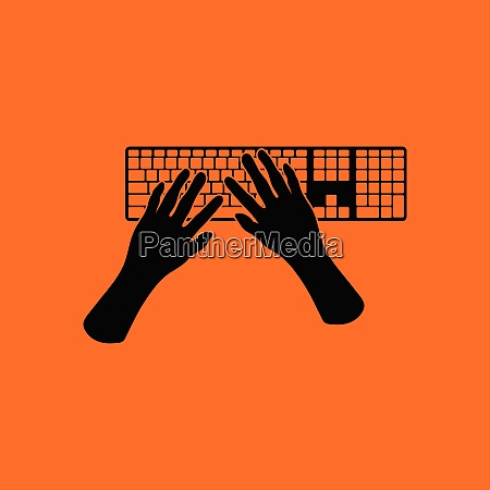 typing icon orange background with black