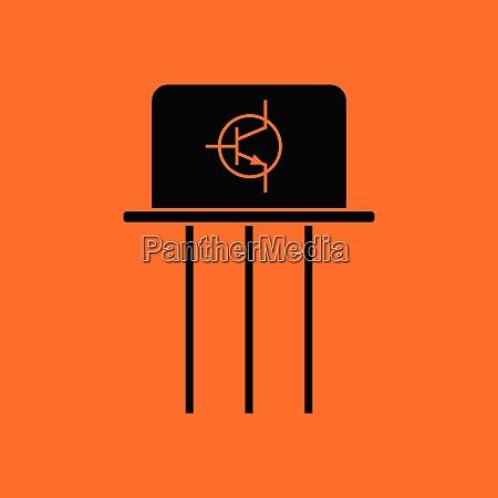 transistor icon orange background with black