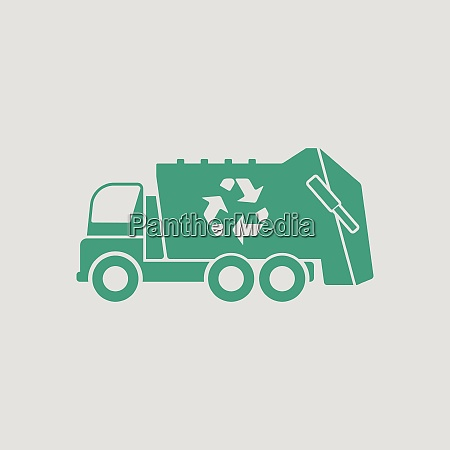 garbage car recycle icon gray background