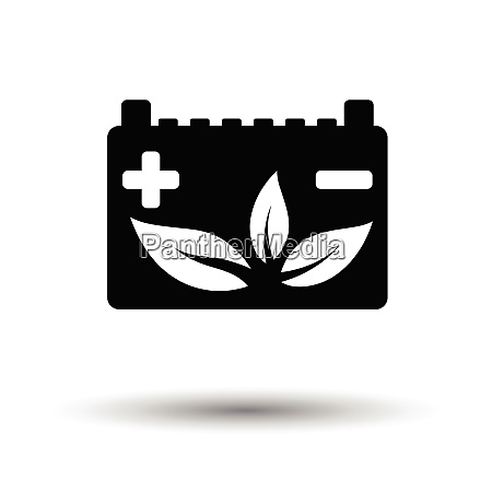 car battery leaf icon white background