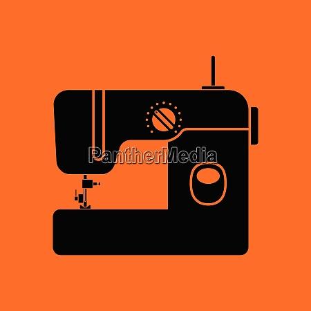 modern sewing machine icon orange background
