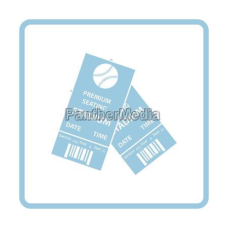 baseball tickets icon blue frame design