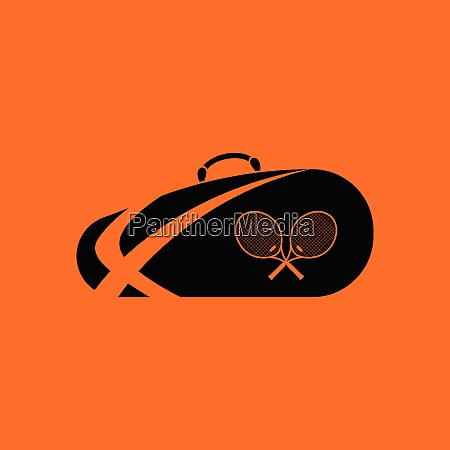 tennis bag icon orange background with