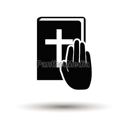 hand on bible icon white background