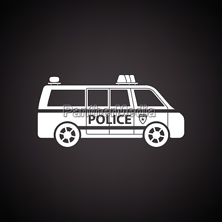police van icon black background with