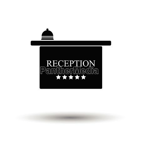 hotel reception desk icon white background