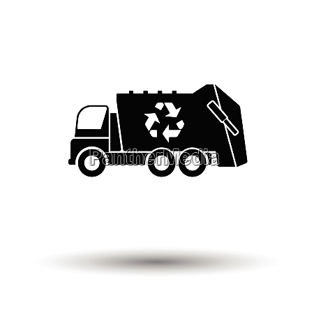 garbage car recycle icon white background